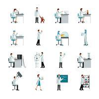 Conjunto de ícones decorativos de cientista