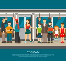 Cartaz interno do trem do metro vetor