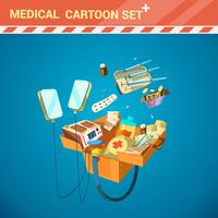 Conjunto de desenhos animados de equipamento hospitalar