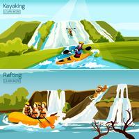 Rafting Canoagem Caiaque Composições vetor
