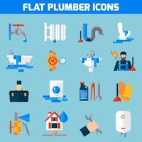 Conjunto de ícones plana de serviço de encanador