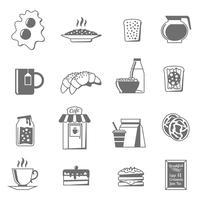 Conjunto de ícones branco preto café da manhã