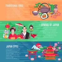 Conjunto de Banners Horizontais Estilo Vida Japonesa vetor