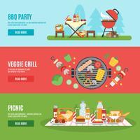 Conjunto de banner de festa de churrasco