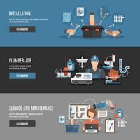 Serviço de encanador 3 banners horizontais interativos vetor
