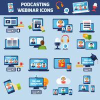 Conjunto de ícones de podcasting e webinar vetor