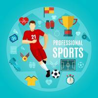 Conjunto de ícones plana de esportes profissional vetor