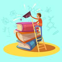 Desenhos animados retrô de educação vetor