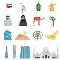 Ícones planas dos Emirados Árabes Unidos vetor