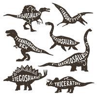 Silhuetas de dinossauros com letras