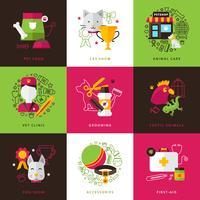 Composições de ícones veterinários