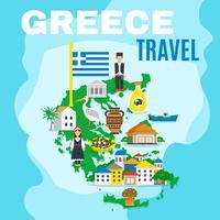 Mapa da Grécia Poster