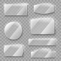 Placas de vidro transparente vetor