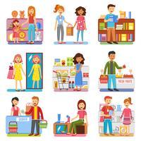 Coleção de PIctograms plana de compras família conceito
