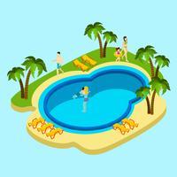 Pessoas na ilustração do parque aquático