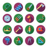 Conjunto de ícones de carpintaria vetor