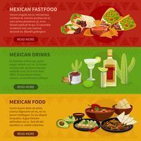 Conjunto de Banners horizontais de comida mexicana 3 vetor