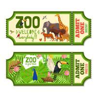 Bilhetes coloridos do jardim zoológico com fundo tropical vetor