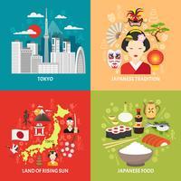 Conjunto de ícones do conceito de Japão vetor