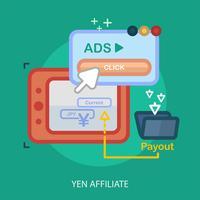 yen afiliado conceitual ilustração design vetor