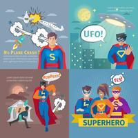 Conjunto de ícones do conceito de super-herói vetor