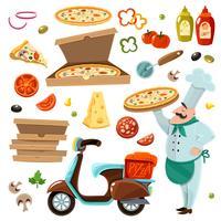 conjunto de desenhos animados de pizza