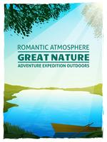 Cartaz do fundo da paisagem da natureza do lago vetor