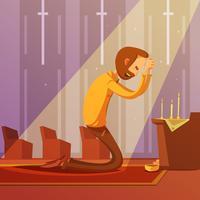 Orando, homem, ilustração vetor