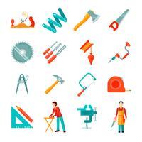 conjunto plana de ícone de carpinteiro vetor