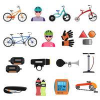 Conjunto de ícones de bicicleta plana