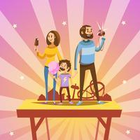 Família, em, parque divertimento