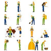Agricultor no trabalho conjunto de ícones plana vetor