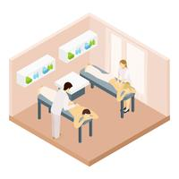 Ilustração isométrica de sala de massagem vetor