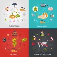 Crise financeira 4 ícones quadrados vetor