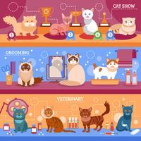 Conjunto de banner de gatos vetor