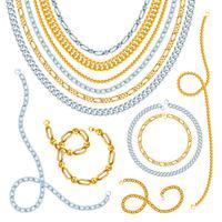 Conjunto de correntes douradas e prateadas vetor