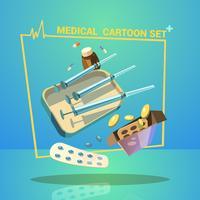 Conjunto de desenhos animados de medicina vetor