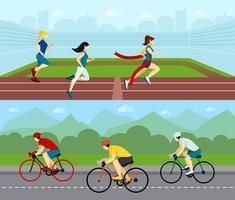 Conjunto de Banner Horizontal de esporte de pessoas vetor