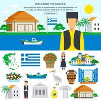 Conjunto de ícones plana da Grécia vetor