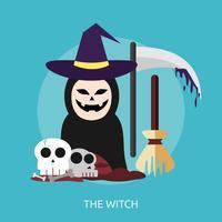 o projeto de ilustração conceitual de bruxa vetor