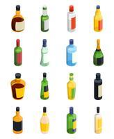 Conjunto de ícones isométrica de álcool vetor
