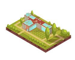 Layout Isométrico do Edifício Universitário vetor