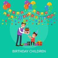 Ilustração conceptual das crianças do aniversário vetor