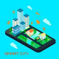 Conceito de projeto isométrico de cidade inteligente