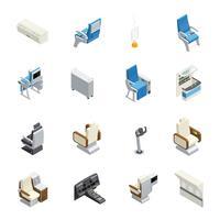 Conjunto de ícones isométrica interior de avião