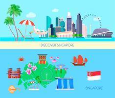 Conjunto de Banner de cultura colorida de Singapura vetor