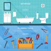 Conjunto de Banners de encanamento de banheiro vetor