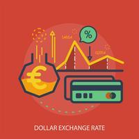 Ilustração conceitual de taxa de câmbio do dólar Design vetor