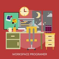 Ilustração conceitual do programador de espaço de trabalho Design vetor