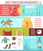 Layout de infográficos de profissão de jóquei